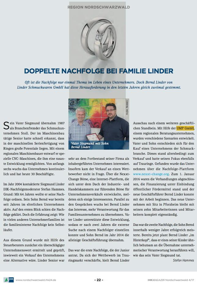 Doppelte Nachfolge bei Familie Linder