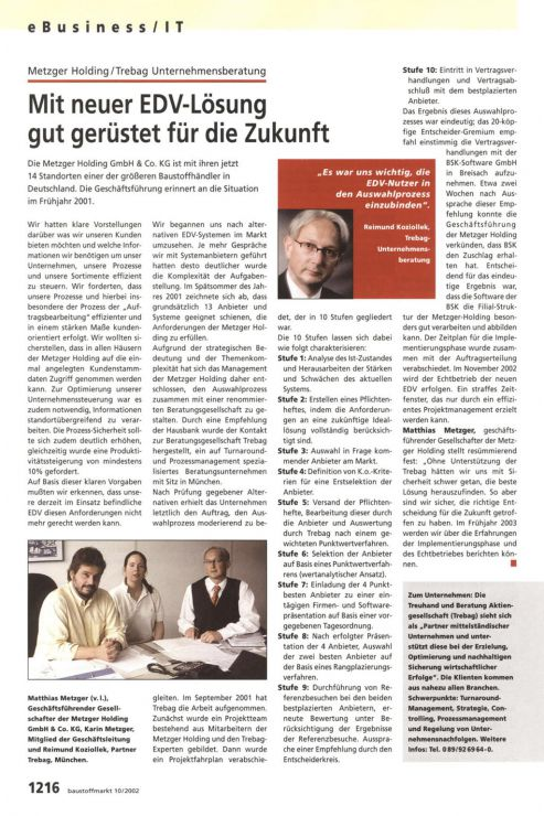 Reimund Koziollek Presseartikel Metzger