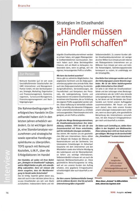 Reimund Koziollek Presseartikel Toys